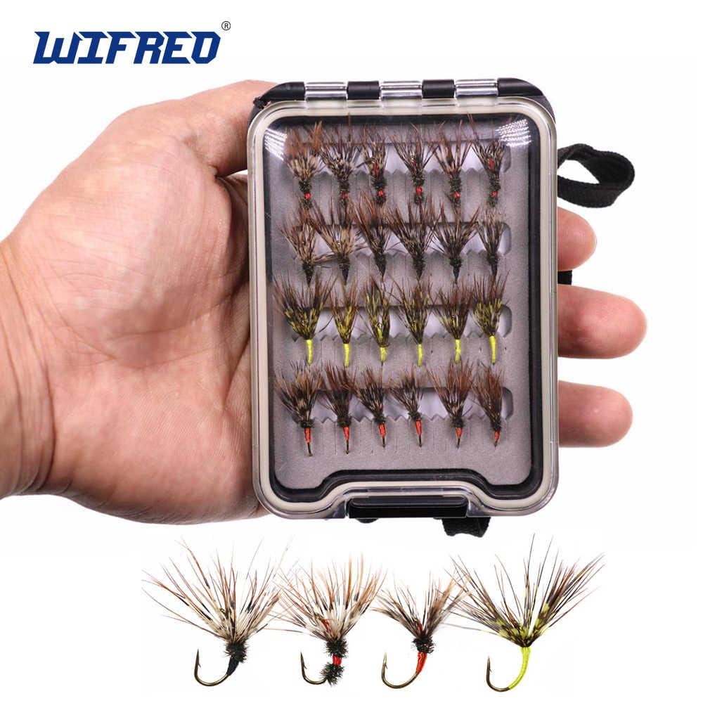 24 Pcs//Box Tenkara Flies In Waterproof Box Barbed Hook Fishing Fly Bait Lure