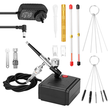 Professional Airbrush Set for Model Making Art Painting with Air Compressor+Power Adapter+Airbrush+Airbrush Holder+0.2mmneedle