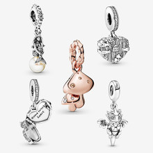 Trendy 100% 925 Sterling Silver Bead The Little Mermaid Sebastian Dangle Charms fit Original Pandora Bracelets Women DIY Jewelry(China)