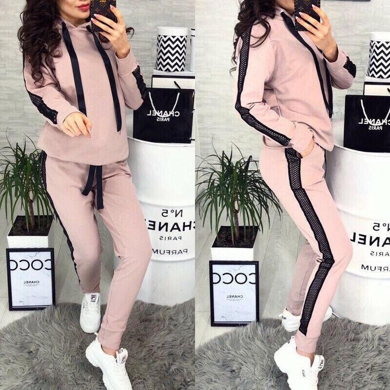 Tracksuit Casual Women Sets 2PCS Slim Fit Jogging Sweatsuits Sweatshirt +Pants Sets Streetwear Suit  Homewear Dropshipping
