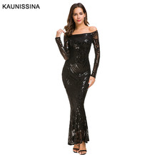 KAUNISSINA Sequined Evening Dresses Off Shoulder  Slash Neck Elegant Burgundy Mermaid Party Gown Formal Robes