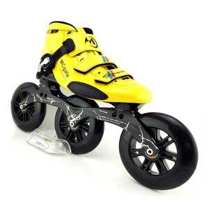 Image 2 - اليابانية الألياف الزجاجية الأحذية المهنية سرعة حذاء تزلج بعجلات النساء الرجال 3*125 مللي متر عجلات المنافسة الأسطوانة أحذية التزلج Patines سباق