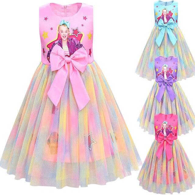 Filles Jojo Siwa robe filles Bow Vestidos enfants fête robe danniversaire enfants robes filles noël JOJO Siwa robe de princesse