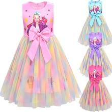 Meninas jojo siwa vestido meninas arco vestidos crianças festa de aniversário vestidos meninas natal jojo siwa princesa vestido