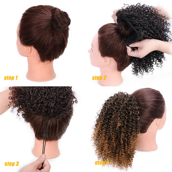 AISIBEAUTY Afro Kinky Curly Hair Extension Drawstring Puff Ponytail Synthetic Clip in Pony Tail  African American Hair Extension 5