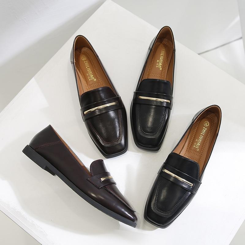Big Size 43 Spring Women Shoes Comfortable Slip on Flats Shoes Women Leather Mocassins Oxford Shoes Ladies Shoes Zapatos JJ23