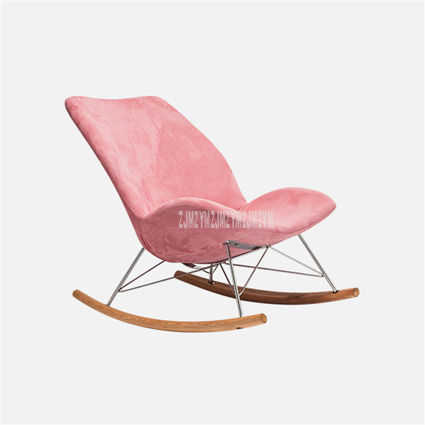 Louis Fashion Single Rocking Chair Leisure Home Balcony Solid Wood Old Man Adult Lazy Lounge Chair Sofa Living Room Furniture