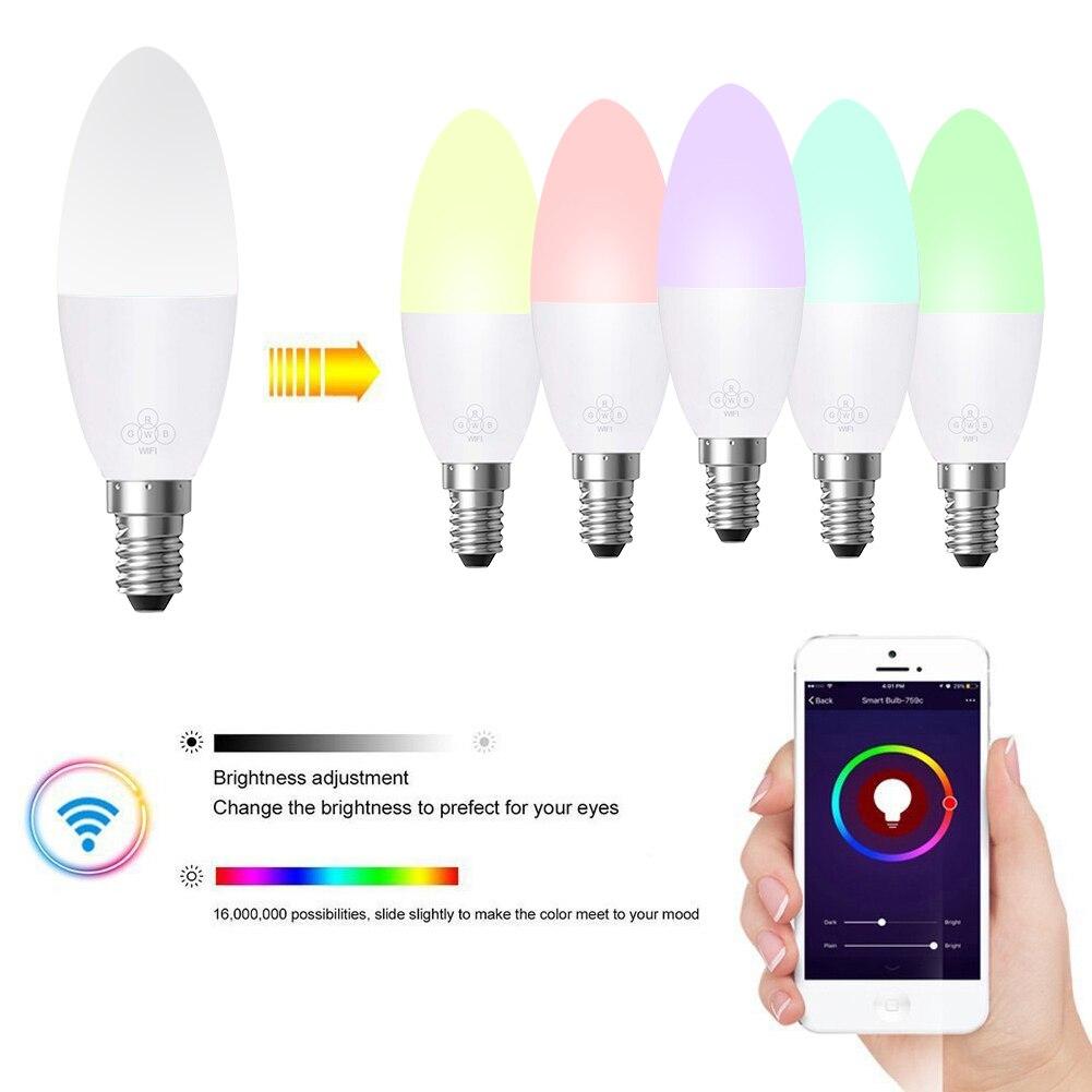 Smart WiFi Candle Bulb E14/E27 RGB Bulb Support Alexa/Google Home/IFTTT Smart Speaker Voice Control 6W Led Lights Decoration