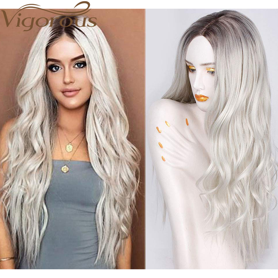 Vigorous Long Womens Wigs Ombre Platinum Blonde Wigs Heat Resistant Synthetic Wavy Wigs For African American Women