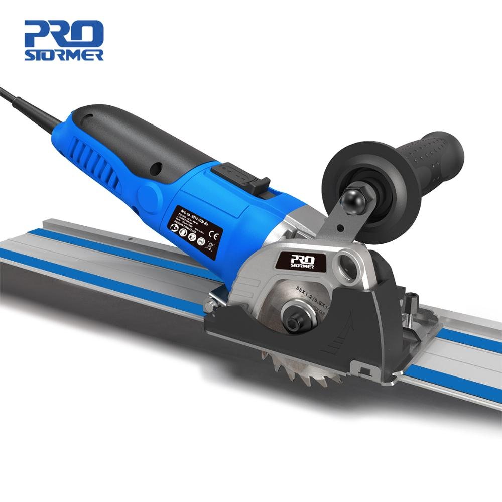 PROSTORMER 230V Mini sierra Circular para cortar madera/metal cortador de azulejos 3 sierras de hoja 500W Plunge Cut Track sierra eléctrica herramienta eléctrica
