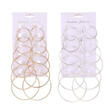 6 Pair/set Gold Statement Earrings For Women Big Round Silver Hoop Earrings Circle Ear Studs Jewelry Gift Earring Sets Wholesale