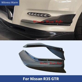 FRP con fibra de carbono frente para lateral de parachoques labio divisores de aletas de ventilación decoración adornos de aire frontal cuchillo para Nissan GTR R35 12-16