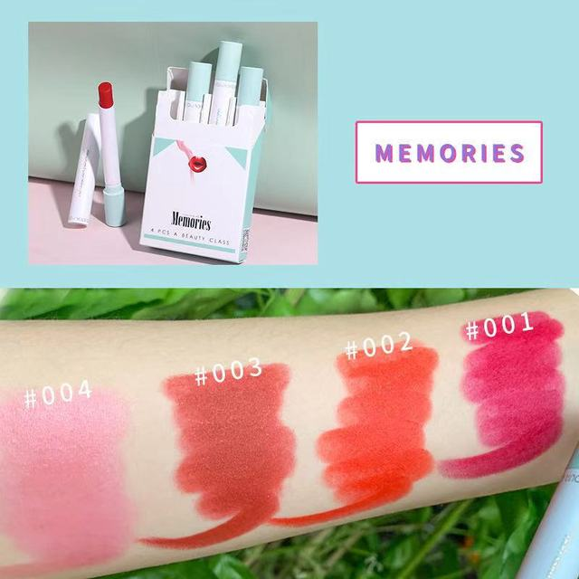 Xixi Cigarette lipstick 4pcs blue pink makeup set beans red orange cherry soft cream long lasing waterproof matte lipstick AC189 1