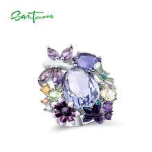 SANTUZZA خاتم فضة للنساء نقية 925 فضة بريليانت ضخمة مذهلة الأرجواني خاتم مجوهرات الأزياء المينا اليدوية