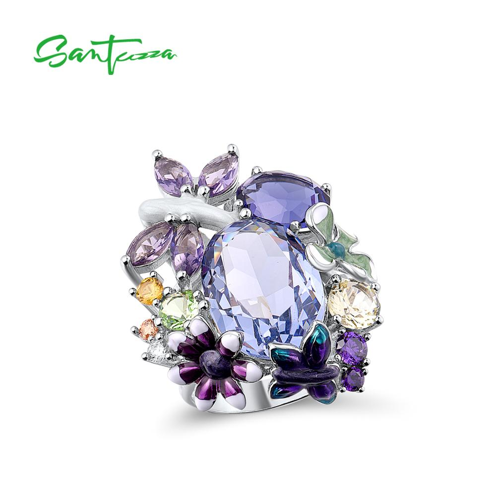SANTUZZA Handmade Multi-color Stone Ring for Women 925 Sterling Silver with Charming Cubic Zircon Fashion Jewelry R305075MUL2SY925