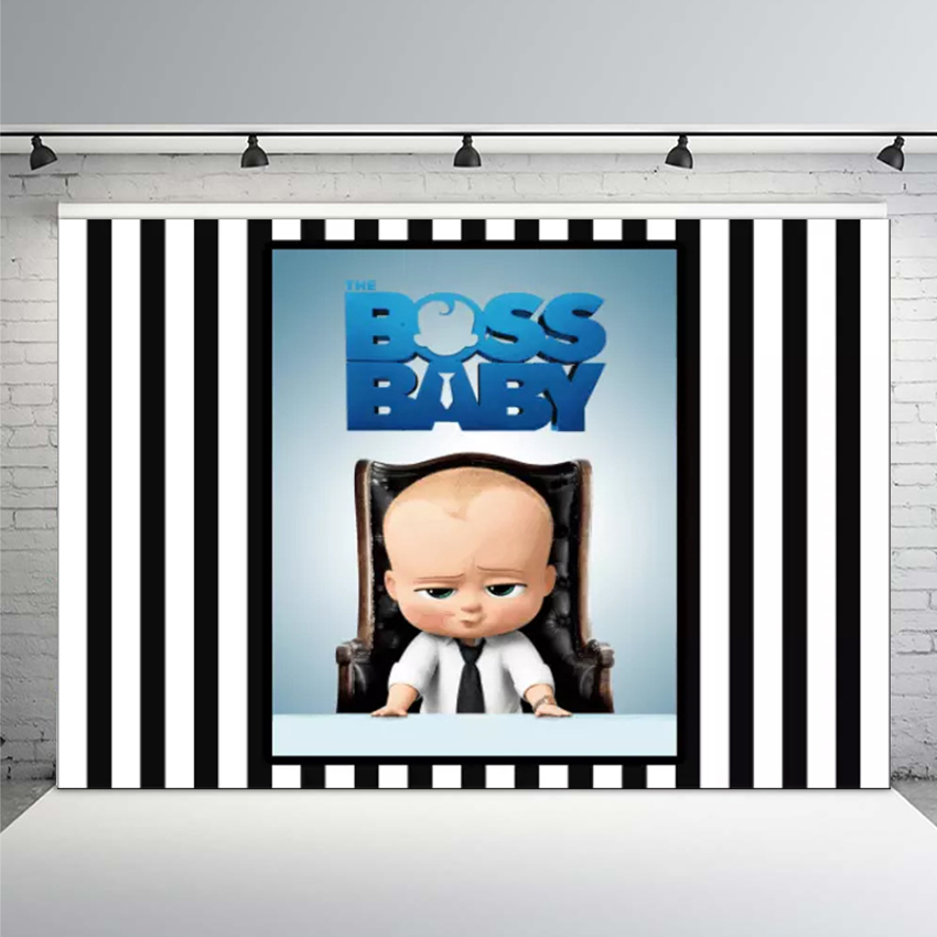Backdrop for Photography Cartoon Boos Baby Blue Stripes Photo Video Studio Photo Shoot Background Newborn Baby Shower Birthday Party Background Banner Studio Props