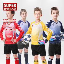 Fitness Children Football Jerseys Soccer Sports Gym Training T-shirt Shorts Pants Kids Tracksuit Running Jogging Suit Sportswear(China)