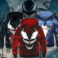 Christmas Halloween Marvel Movie Venom 3D Printed Spiderman Hoodies Costume Kids Boys Hooded Sweatshirts Hip Hop Pullover Jacket