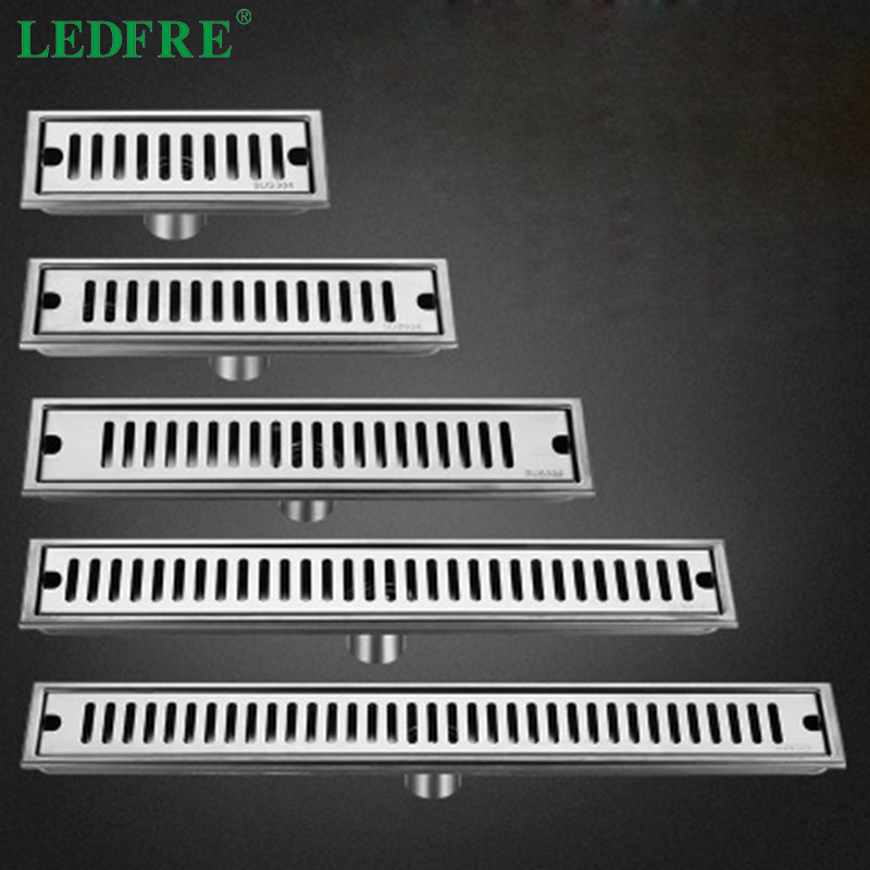 LEDFRE 10CM To100CM Stainaless Steel Siphon Shower Floor Drains Long Shower Drain Cover Square Drainage Drain For Bathroom Hotel