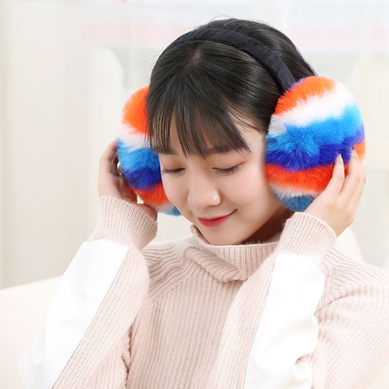 Women Winter Fluffy Plush Earmuffs Rainbow Colorful Stripes Collapsible Headband C90E