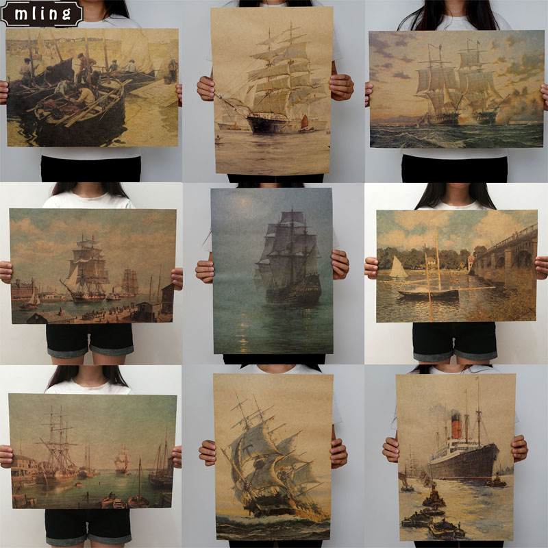 Mling 1PC 51.5x36cm Sailing Series Kraft Paper Poster Livingroom Bedroom Home Decor Retro Character Landscape Wall Sticker