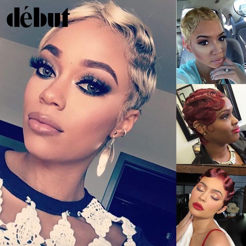 Debut Ombre Romantic Lace Part Human Hair Wigs Brazilian Remy Hair Short Bob Lace Front Wigs For Women 27 30 Finger Wave Wigs