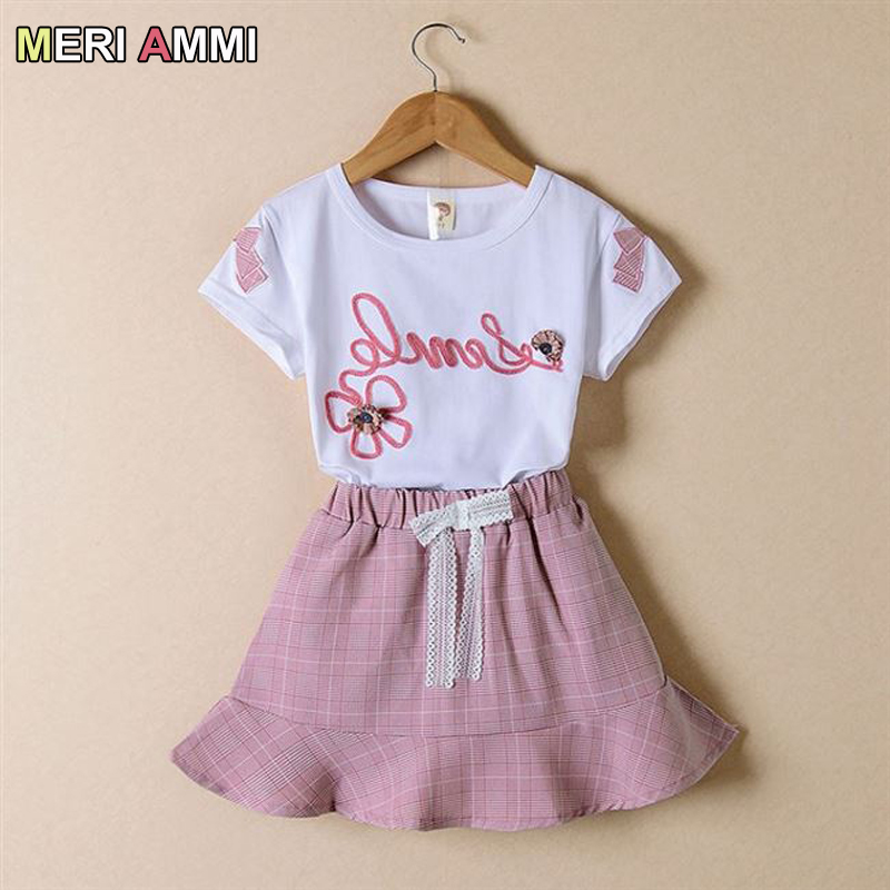 MERI AMMI Children Cartoon Girl Clothing Set Cartoon Tee+Bowknot Skirts Outfit Set For 4-13 Year Girl