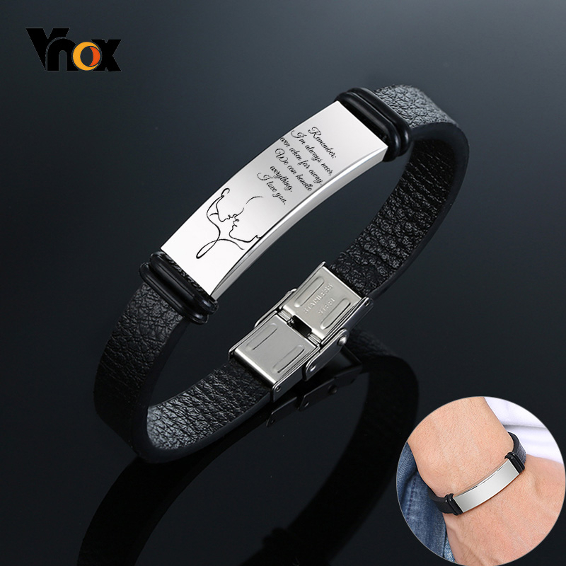 Vnox Personalize ID Bracelets For Men Leather Bangle With Stainless Steel Bar Black Casual Classic Male Jewelry Gift For Him