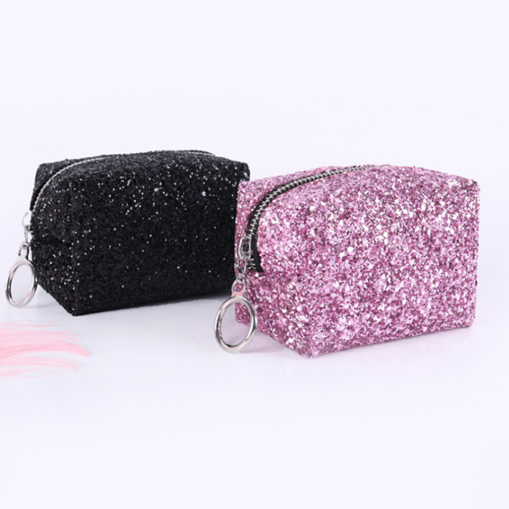 Sequin Small Square Bag Female Storage Bag Women Cosmetic Bag Wash Pouch Travel Multifunctional Simple Portable Tote Make Up Bag