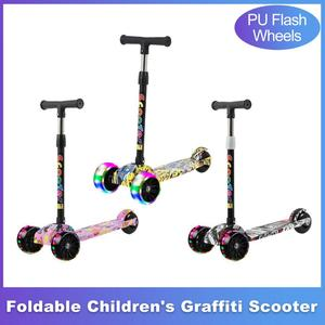 Portable Children's Scooter Graffiti Foldable And Adjustable Height Three-wheel Balance Bike Scooter With PU Flash Wheels
