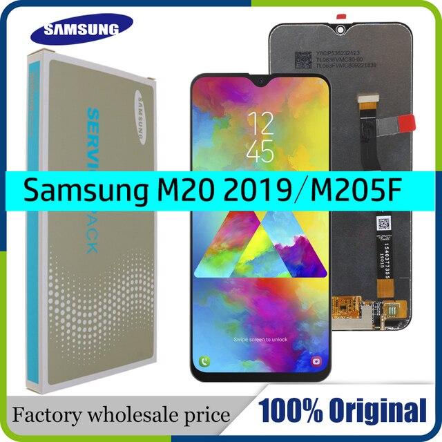 6.3 삼성 갤럭시 M20 2019 SM M205 M205F LCD 디스플레이 터치 스크린 디지타이저 어셈블리 교체 부품에 대한 새로운 AMOLED