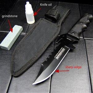 Image 4 - K10 Black fiber handle tactical straight knife black sharp hunting knife diving knife + grindstone + knife oil + knife sleeve