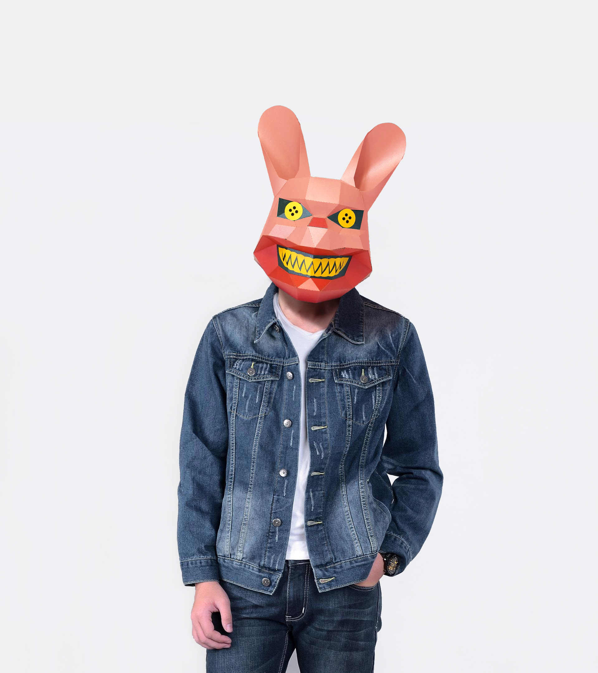 Paper Mask 3d Scary Rabbit Costume Cosplay DIY Paper Craft Model Mask Christmas Halloween Prom Party Gift