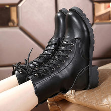 2019 New Buckle Winter Motorcycle Boots Women British Style Ankle Boots Gothic Punk Low Heel ankle Boot Women Shoe Plus Size 43(China)