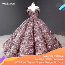 J66991 Jancember ערב שמלות 2020 דובאי מתוקה כבוי כתף נצנצים המפלגה שמלת ערב שמלות לנשף