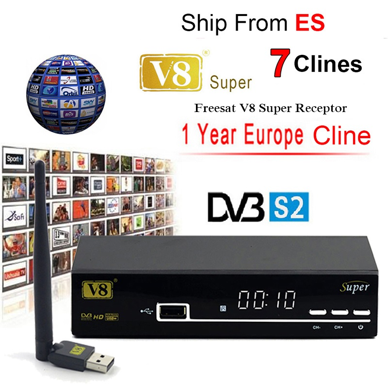FREESAT V8 SUPER Receptor DVB-S2 HD FTA Satellite TV Receiver With 1 Year Europe 7 Cccams +USB WIFI 1080P Lnb Portugal Polish TV
