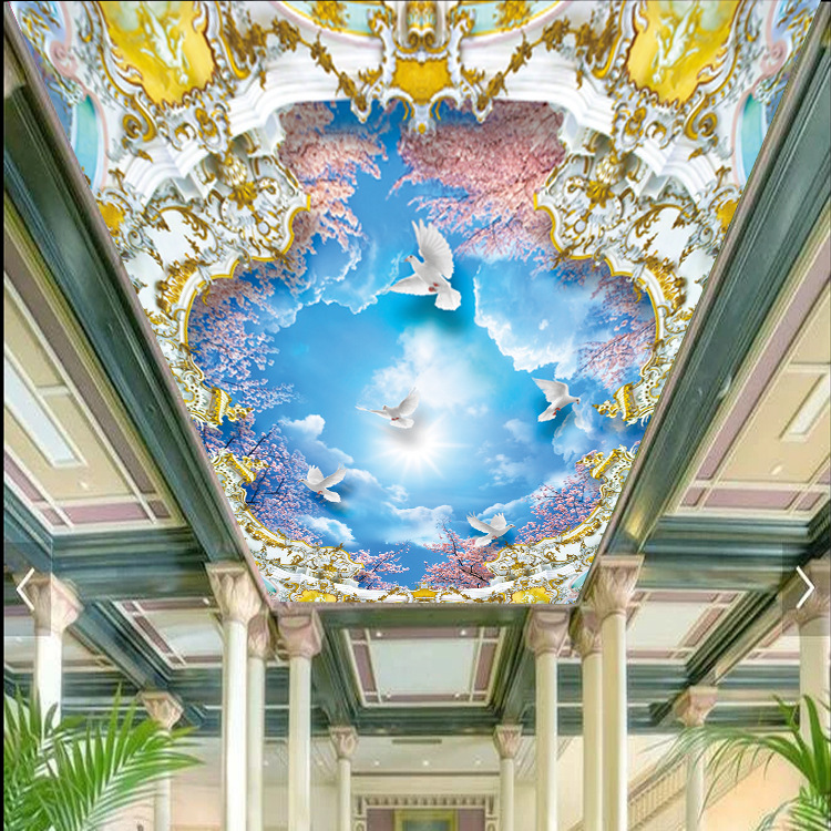 3D Blue Sky White Cloud Top Ceiling Wallpaper Theme Internet Cafe Ceiling Mural Living Room Ceiling Wallpaper