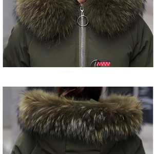 Image 5 - Luzuzi Vrouwelijke Lange Parka Plus Size Koreaanse Dikke Grote Bontkraag Vrouwen Winter Jas Losse Jas Down Katoen Overjas