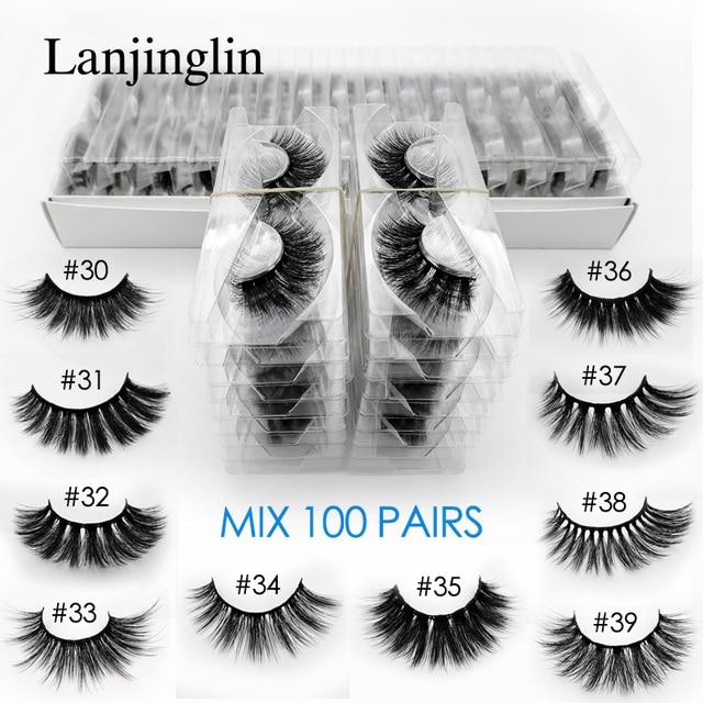 wholesale 3d mink false eyelashes 20/30/40/50/100 pairs fluffy wispy fake lashes natural long makeup lash extension in bulk