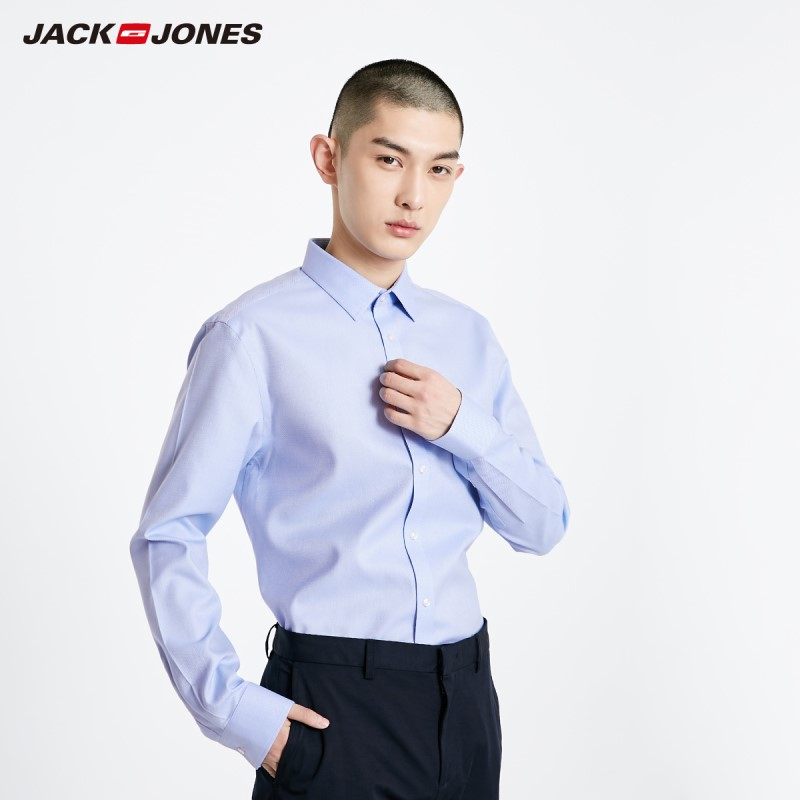 JackJones Men's 100% Cotton Straight Fit Basic Pure Color Pointed Collar Long-sleeved Shirt 219105567