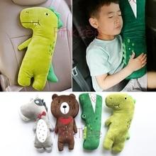 Cinturón de seguridad para bebé, almohada de seguridad para niños, Protector de cuello de dibujos animados, almohada de sujeción para reposapiés de coche, oso de dinosaurio, cocodrilo