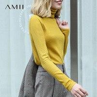Amii primavera gola alta feminina sólida manga cheia lã fino ajuste camisola feminina grande camisola de malha 11820098
