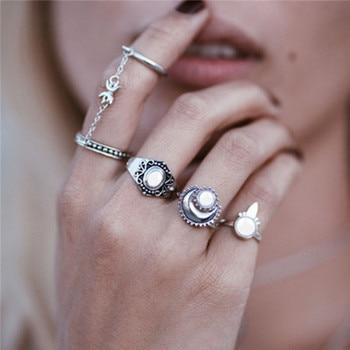15 Pcs/set Women Fashion Rings Hearts Fatima Hands Virgin Mary Cross Leaf Hollow Geometric Crystal Ring Set Wedding Jewelry 7