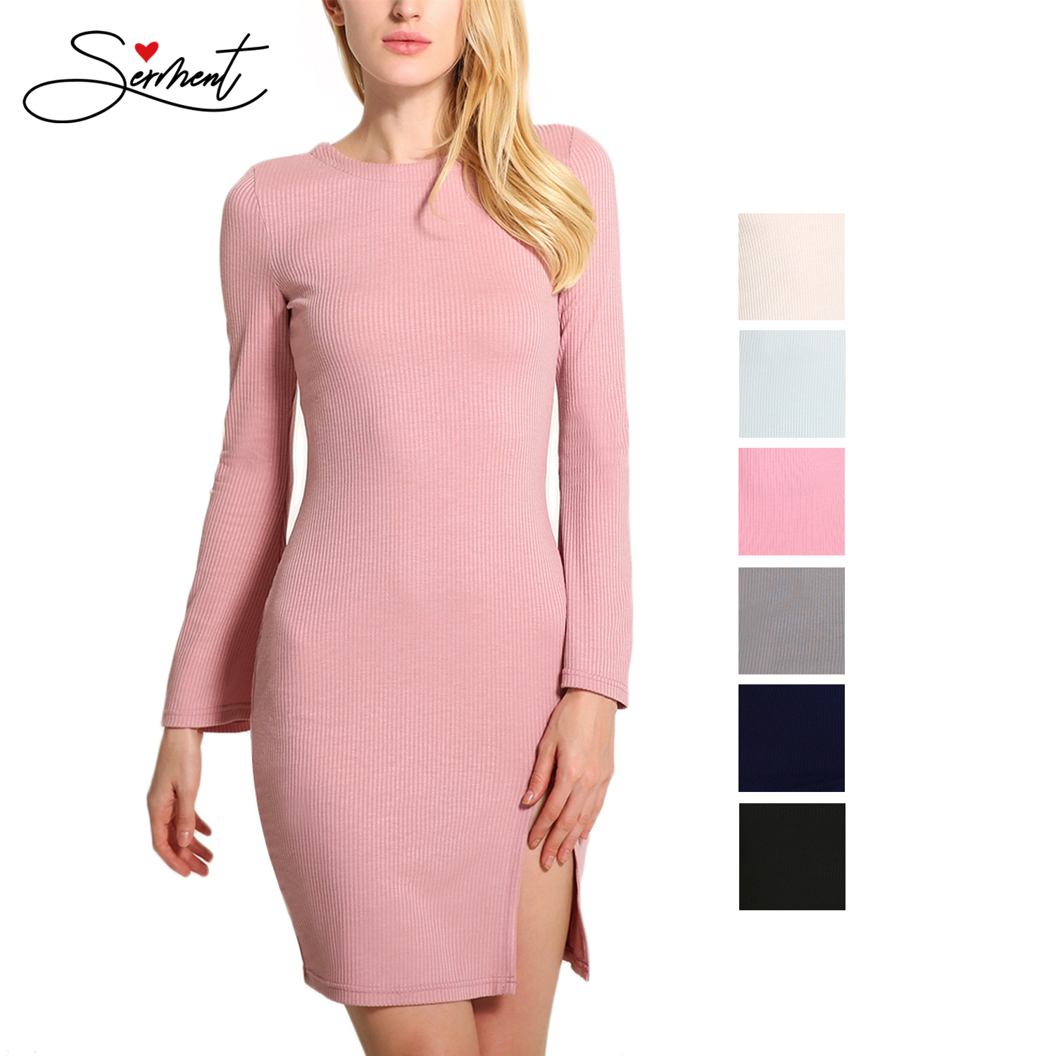 OLLYMURS New Elegant Woman Evening Gown Pink Sexy Flared Sleeve Hip Dress Suitable For Formal Parties