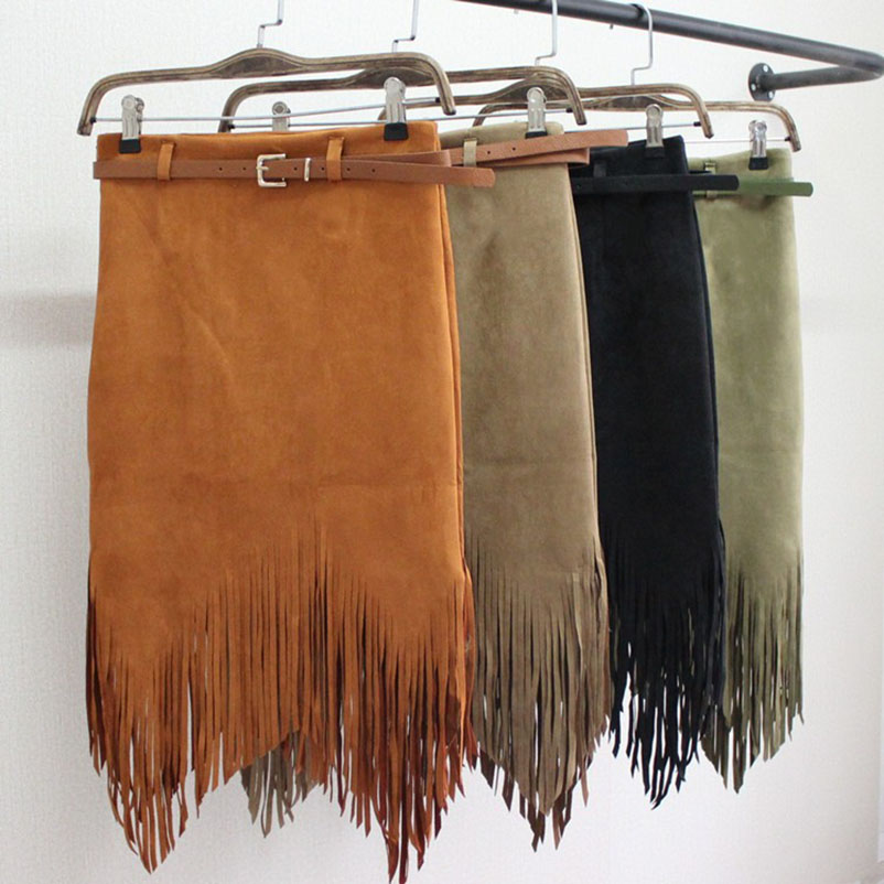 Spring Autumn Pencil Knee-Length Knitting Cotton Skirt Tassel Fringe Skirt Fashion Women High Waist Asymmetrical Skirts  Female