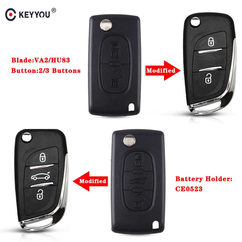 KEYYOU CE0523 2/3 BT Filp Remote Car Key Shell Case For <font><b>Peugeot</b></font> 306 <font><b>407</b></font> 807 Partner For Citroen C2 C4 C5 C6 C8 Berlingo Picasso image