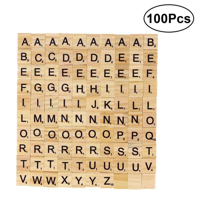 100pcs DIY Wood Letters Letters Tiles Scrabble Letters Replacement Tiles Square Letter Games Great For Crafts Spelling