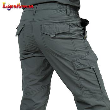 Męskie spodnie letnie szybkie suche spodnie dorywczo armii wodoodporne spodnie męskie taktyczne spodnie w stylu Cargo nowe męskie lekkie spodnie tanie i dobre opinie Ligentleman Cargo pants Pełnej długości Mieszkanie Luźne Poliester Lycra spandex Suknem Kieszenie Na co dzień Sznurek