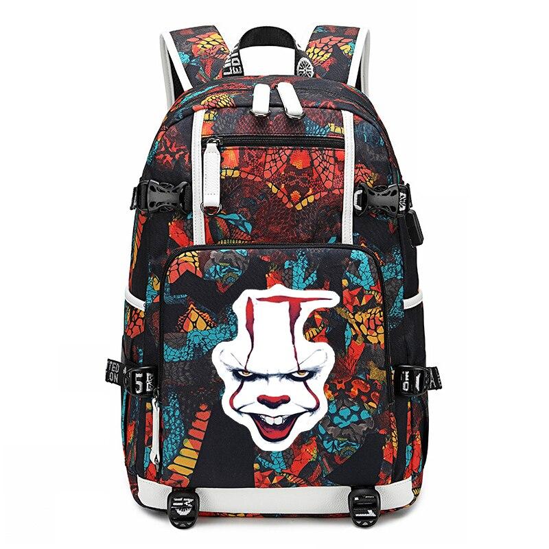 Mochila IT Horror Movie Clown Backpacks School Bags For Teenage Girls Women Backpack Men Laptop Backpack Large Travel Rucksack