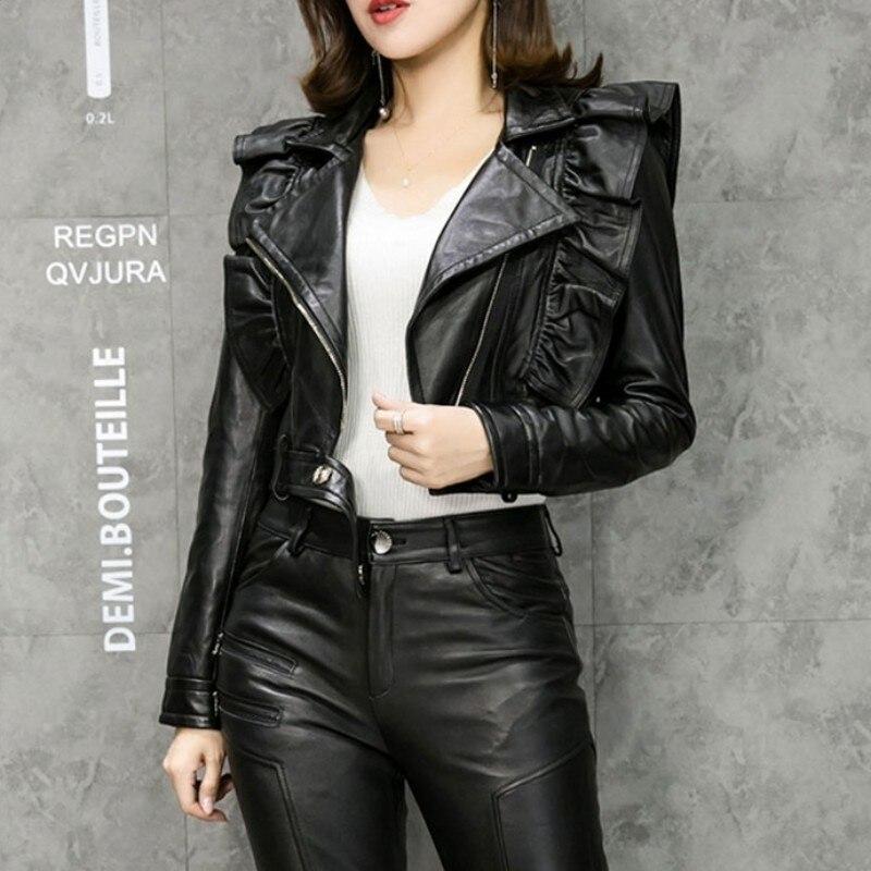 Black Flywheel Design Thin Leather Leather Sheepskin Coat Motorcycle Coat